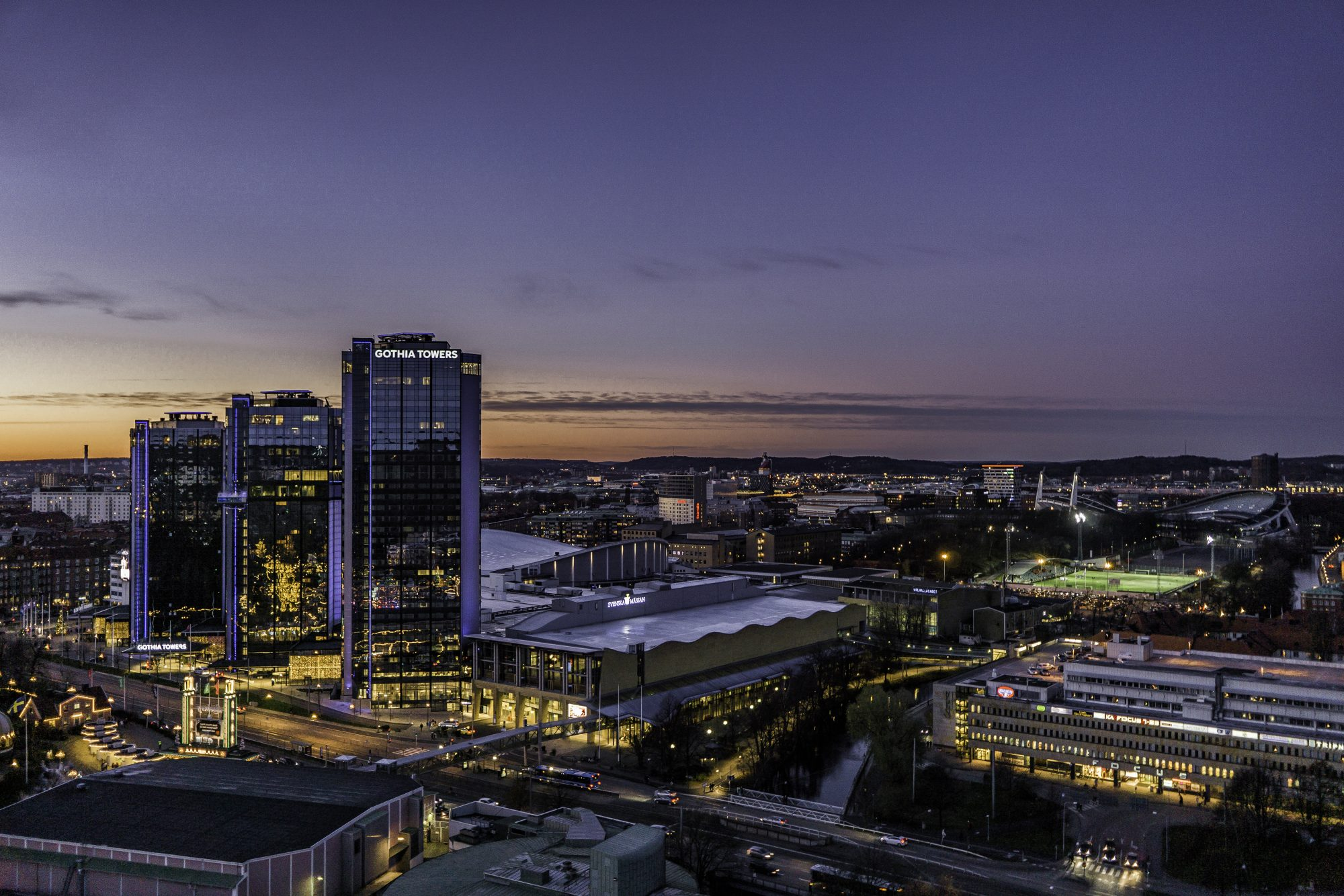 Gothia towers, Gothenburg from above by night