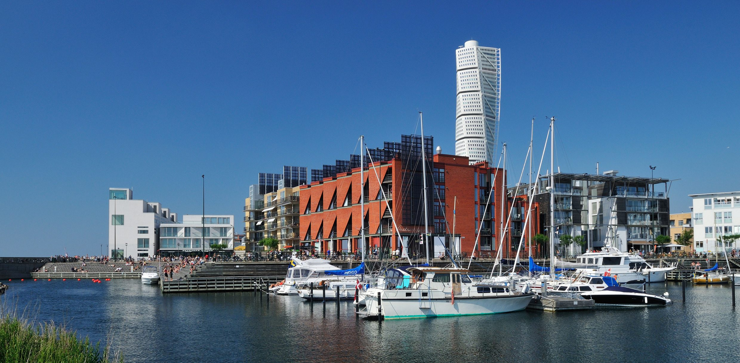 Harbour in Malmö with Turning Torso in the background