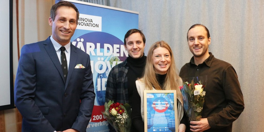 Winners of Uminova Innovation's Climate Competition 2019 smiling with price